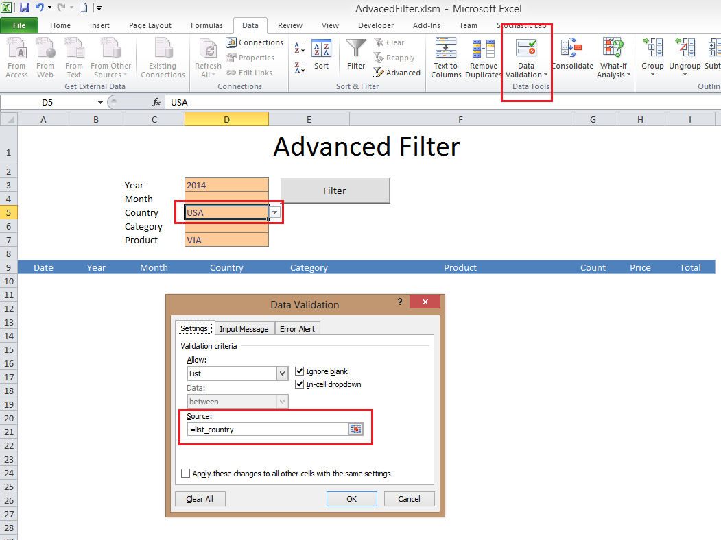 Advanced Filter Excel Template - Excel VBA Templates