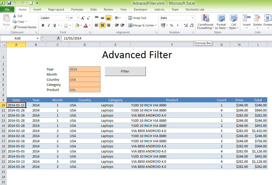 advanced filter excel template