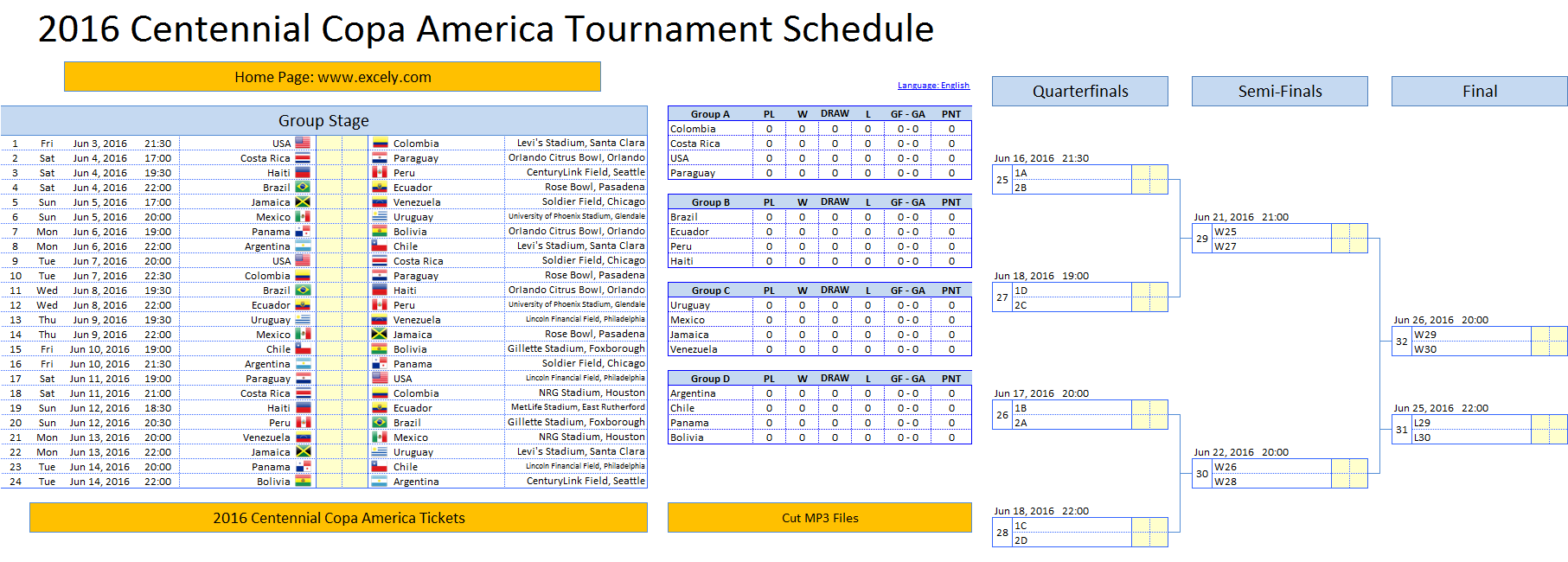 Tournament Template Excel