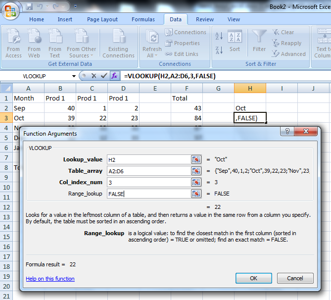 How to use the functions of data handling using VLOOKUP