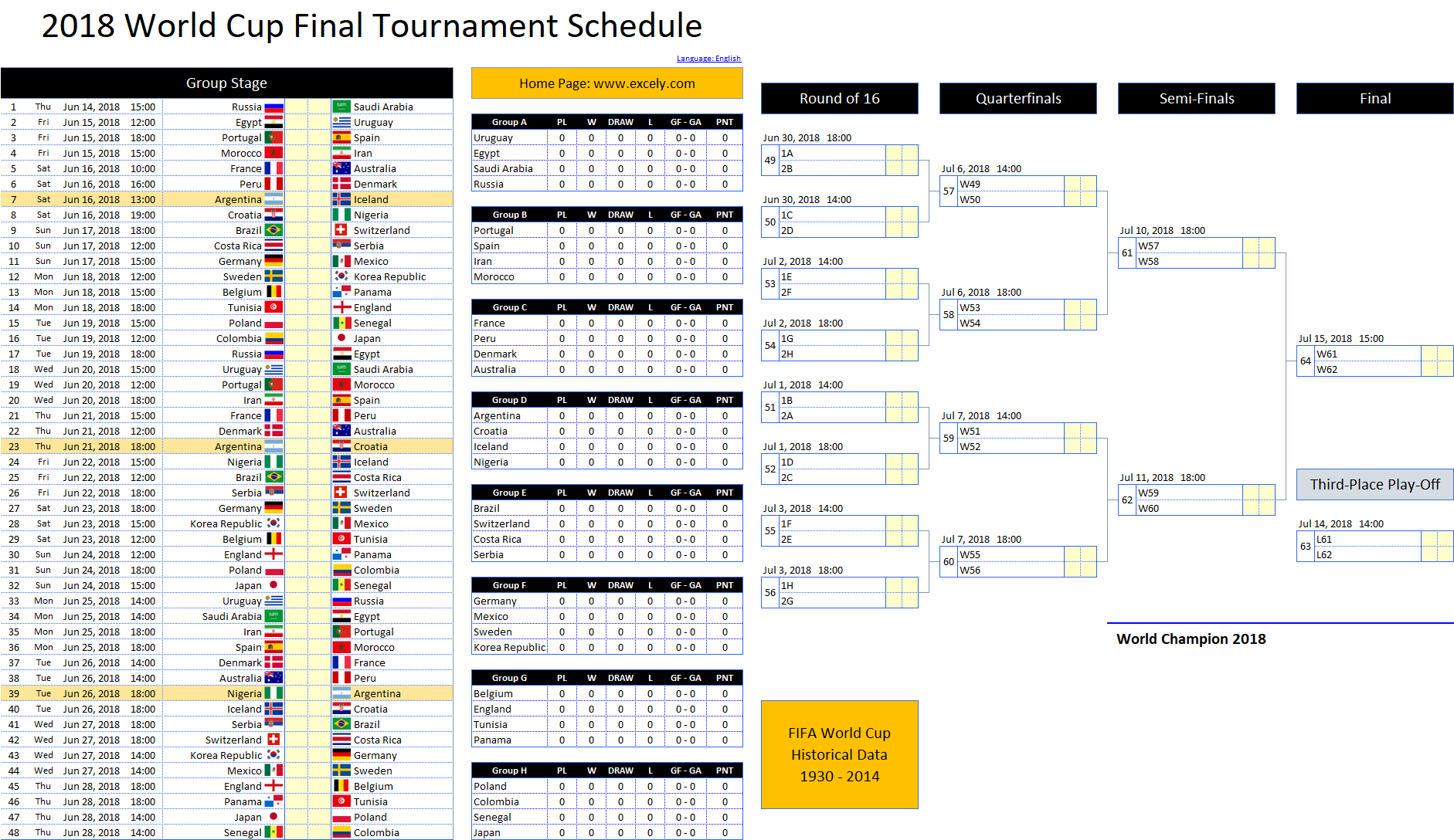 World Cup 2018 Schedule Excel Template